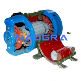 Sectional Front View of DC Motor - Working Model
